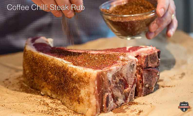 Coffee chilli steak rub