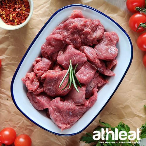 Grass Fed Diced Beef in a bowl by Athleat
