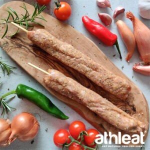 Grass fed lamb kofte kebab by Athleat on wooden board
