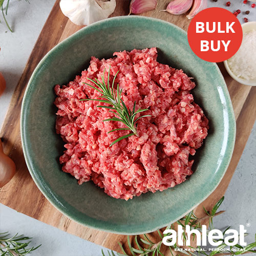 Grass fed beef steak mince in a bowl by Athleat