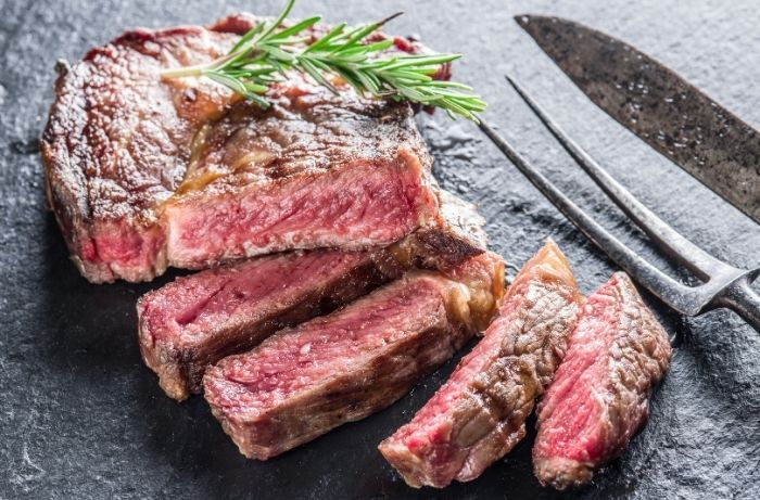 perfectly cooked steak